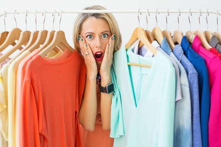 disorganized: Woman in shock having nothing to wear