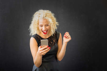 Woman texting and chating