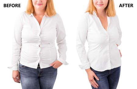 Mulher que levanta antes e depois da dieta bem sucedida