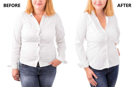 Woman posing before and after successful diet Imagens - 67738217