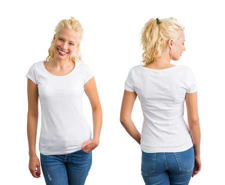 white shirt: Woman in white round neck T-shirt