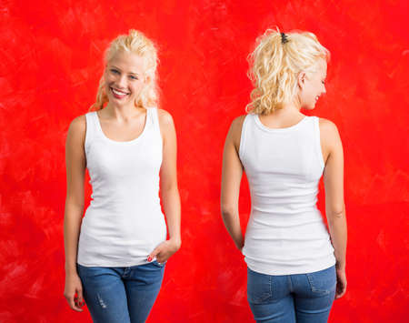 woman white shirt: Woman in white tank-top shirt on red background