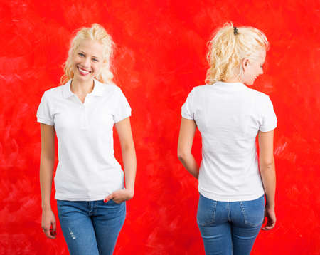 Woman in white polo T-shirt on red background