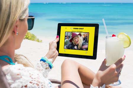 Women using video chat app Stock Photo
