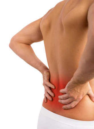 lower body: Man having lower back problems Stock Photo