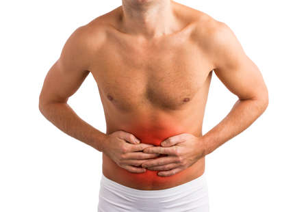 diarrhoea: Man holding his stomach in pain