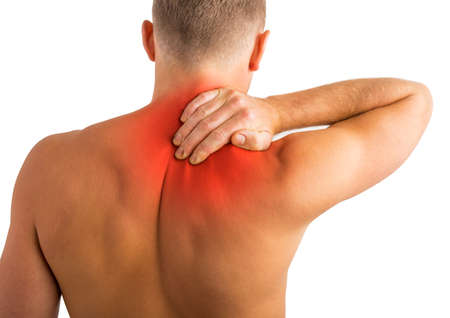 Man having back and shoulder pain