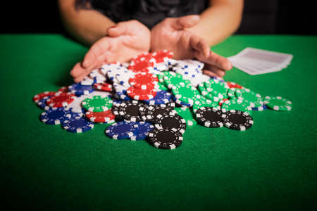poker player: Poker player going all in