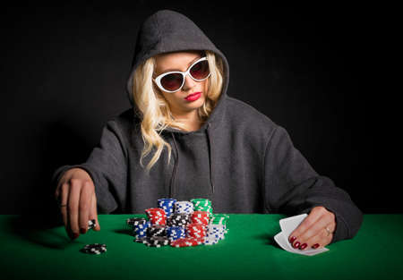 poker player: Professional poker player with glasses