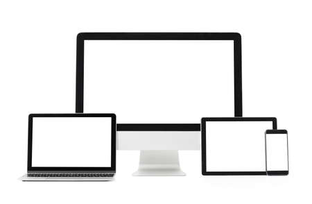 Different size screens on different devices, mockup for adaptive design samples.