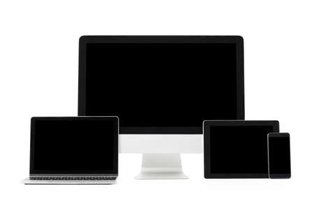 Different sized screens of modern computers and tech gadgets