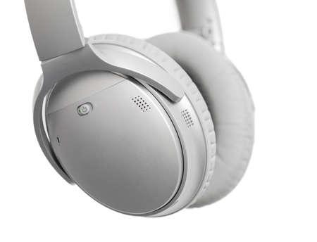 noise isolation: Headphones isolated on white Stock Photo