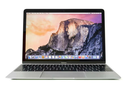 RIGA, LATVIA - December 29, 2016: 12-inch Macbook laptop computer isolated on white.