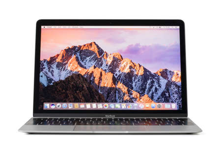 computer isolated: RIGA, LATVIA - February 06, 2017: 12-inch Macbook laptop computer isolated on white. Editorial