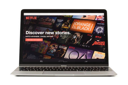 RIGA, LATVIA - February 06, 2017: Netflix,the worlds leading subscription service for watching TV and movies on 12-inch Macbook laptop computer. 에디토리얼