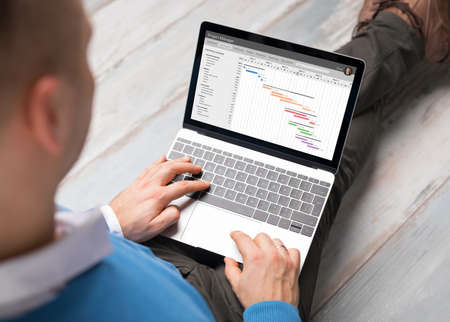 timescale: Man using project management software on laptop compter