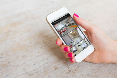 Home security cameras viewed on mobile phone