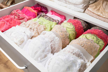 Womans bras in drawer