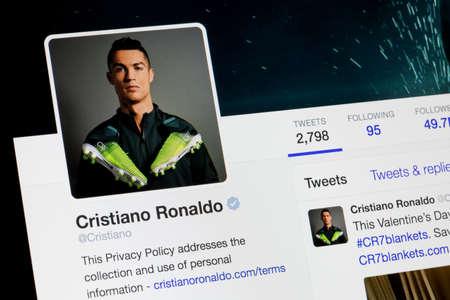 RIGA, LATVIA - February 02, 2017: Twitter account of worlds famous soccer player Cristiano Ronaldo