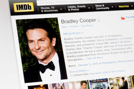RIGA, LATVIA - February 02, 2017: IMDb biography profile of famous actor Bradley Cooper. Editorial