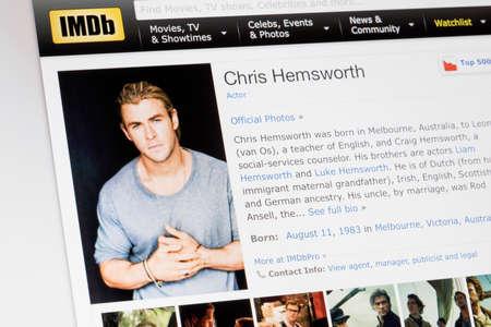 RIGA, LATVIA - February 02, 2017: IMDb biography profile of famous actor Chris Hemsworth.