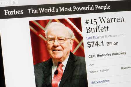 warren: RIGA, LATVIA - February 24, 2017: Forbes Magazine list of The Worlds Most Powerful People.Number 15 Warren Buffet the CEO of Berkshire Hathaway.