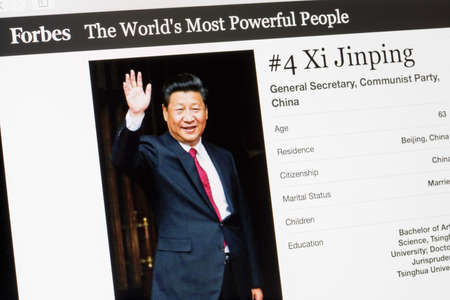 RIGA, LATVIA - February 24, 2017: Forbes Magazine list of The Worlds Most Powerful People.Number 4 General secretary of China Xi Jinping.