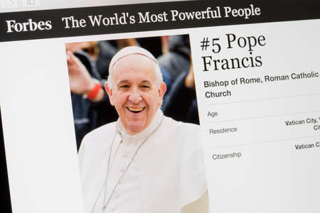 RIGA, LATVIA - February 24, 2017: Forbes Magazine list of The Worlds Most Powerful People.Number 5 the Bishop of Roman Catholic church Pope Francis.