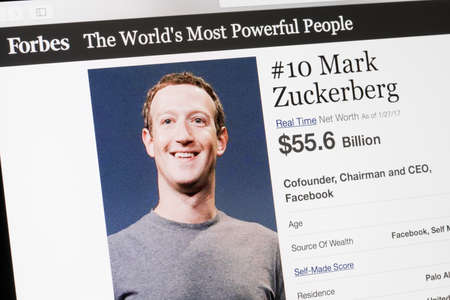 RIGA, LATVIA - February 24, 2017: Forbes Magazine list of The Worlds Most Powerful People.Number 10  the cofounder and CEO of Facebook Mark Zukenberg. 報道画像