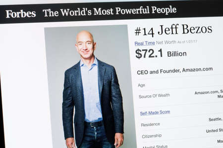 RIGA, LATVIA - February 24, 2017: Forbes Magazine list of The Worlds Most Powerful People.Number 14 CEO and founder of Amazon.com Jeff Beezos. Banco de Imagens - 75365740