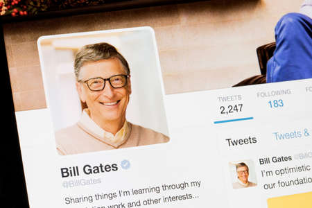 RIGA, LATVIA - February 02, 2017: Bill Gates Twitter profile.