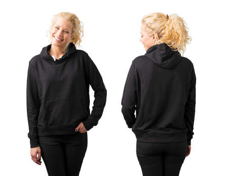 Woman in black blank hoodie on white background Stockfoto