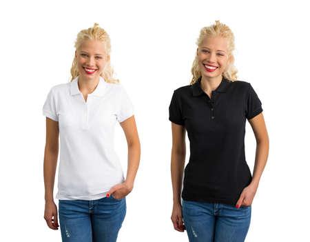 woman white shirt: Woman in white and black polo shirt Stock Photo