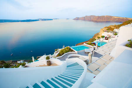 Prachtige Santorini door surise Stockfoto