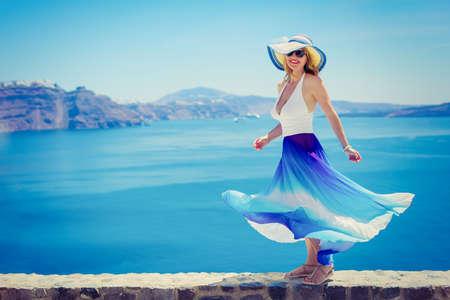 beautiuful tourist woman in Santorini