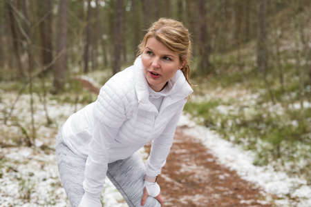 Woman exercise outdoors in cold weather