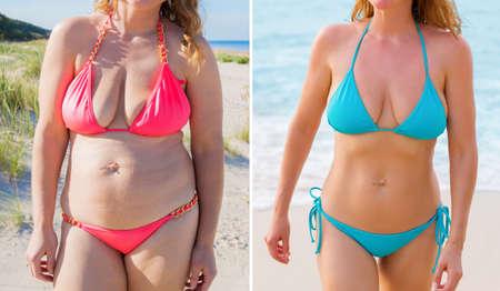 photos décrites de femme avant et après le régime végétarien Banque d'images