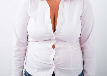 Fat woman with shirt too small