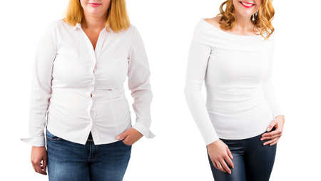Casual woman before and after weight loss, isolated on white