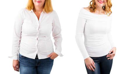 Przypadkowa kobieta przed i po odchudzaniu, na białym tle