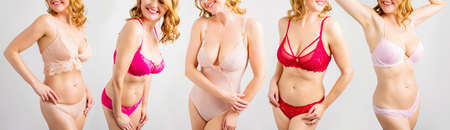 Natural model posing in different sets of women's lingerie