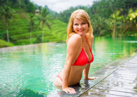 Woman ejoying vacation in tropical location