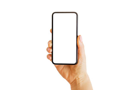 Person using phone with empty white screen. Mobile app mockup.
