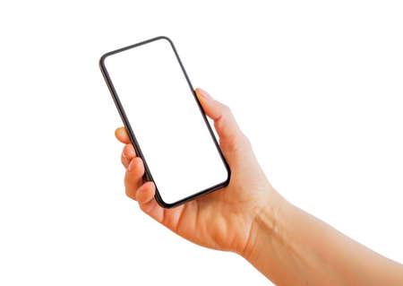Persona che cattura foto con il telefono. Isolato su bianco.