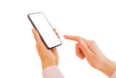 Person holding mobile phone with both hands. Mobile app mockup.