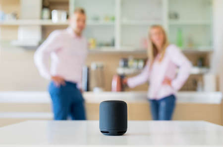 Couple using smart speaker at home Stock fotó - 108420150
