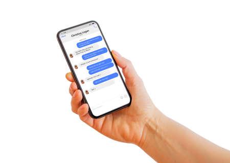 Sample messaging app on mobile phone