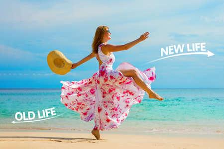 Frau, die sich in ihrem Leben persönlich verändert, ein altes Leben hinter sich lässt und sich auf ein neues, besseres freut.