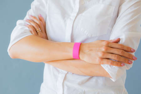 Woman wearing mockup template arm bracelet wristband