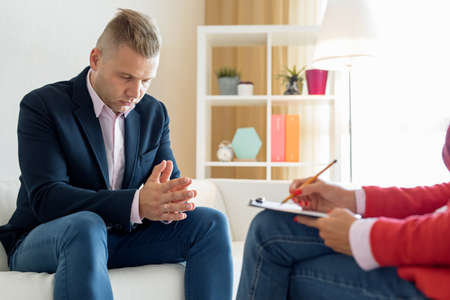 Man during psychotherapy